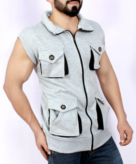 Grey 4 Cargo Pocket Style Sando Fleece Jacket FS-25805