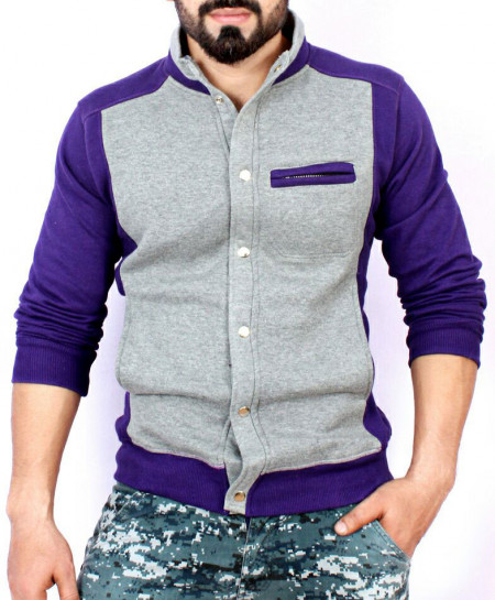 Grey Purple Stand Collar England Fleece Jacket ABS-54
