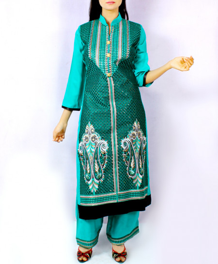 Sea Green Embroidered Ladies Stylish Suit KC-3615