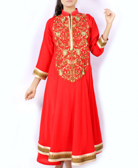 Red Front Back Embroidered Stylish Kurti KC-3627