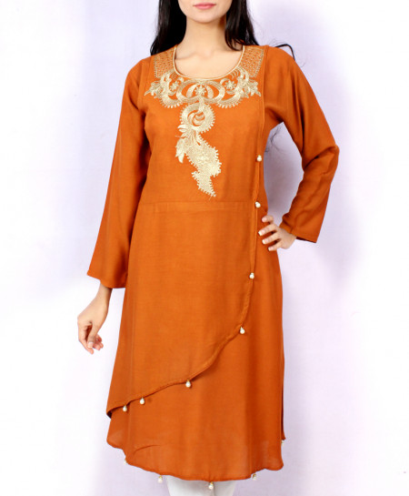 Mustard Front Embroidered Stylish Kurti KC-3667