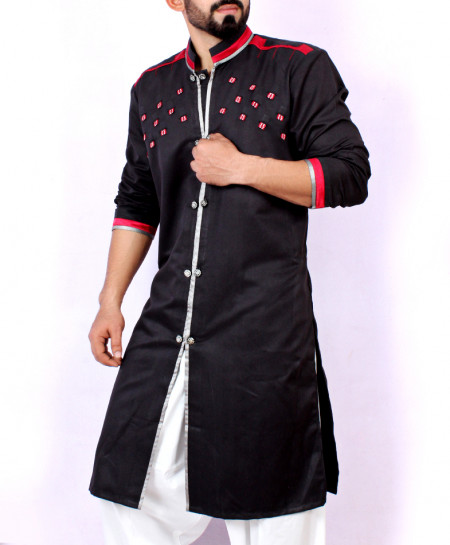 Black Shairwani Style Kurta With Red Tipping ARK-956