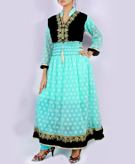 Light Blue Embroidered Stylish Suit KC-3676