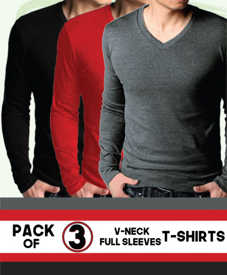 Pack Of 3 V Neck T-Shirts QZS-103