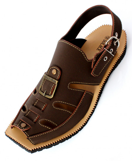 Brown Plain Stitched Design Peshawari Sandal CR-2732
