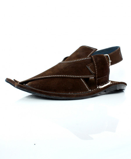 Dark Brown Suede Stitched Peshawari Sandal AK-1024