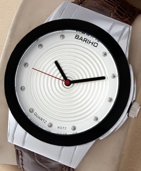 Bariho White Round Dial Stylish Casual Watch K-077