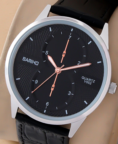 Bariho Black Dial Stylish Casual Watch V-552