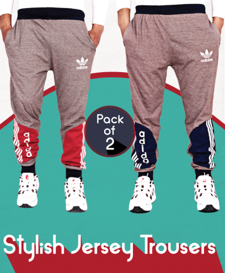 Pack Of 2 Stylish Jersey Trousers AG-22
