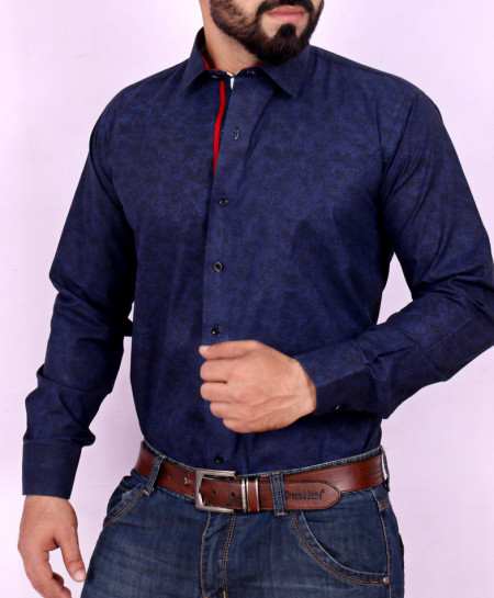 Navy Blue Textured Stylish Shirt FW-29