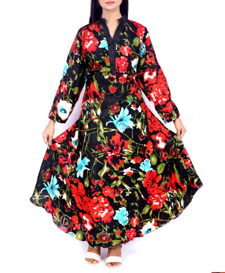 Black Floral Anarkali Style ladies Kurti VRJ-2783