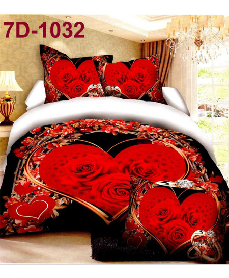 7D Black Roses Cotton Satin Bedsheet 7D-1032