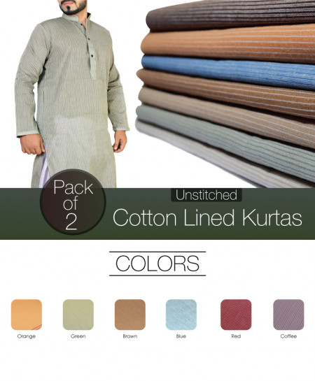 Pack Of 2 Cotton Lined Unstitched Kurtas NMC-18