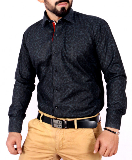 Black Textured Stylish Shirt FW-31