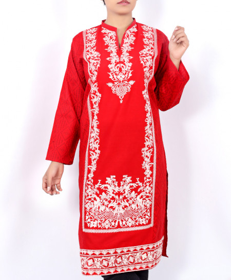 Red Front Embroidered Stylish Ladies Kurti AU-5001