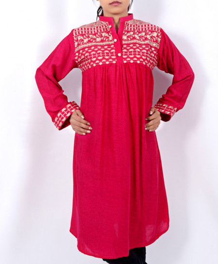 Red Front Embroidered Stylish Ladies Kurti DK-003