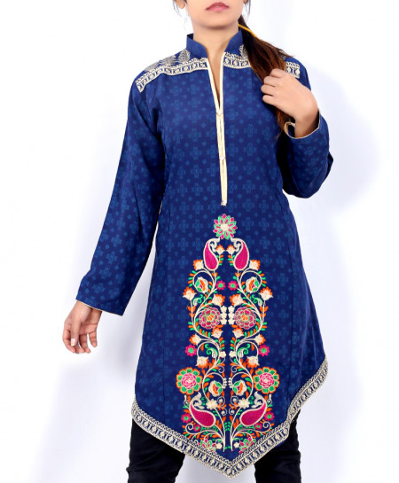 Dark Blue Front Embroidered Stylish Ladies Kurti DK-001