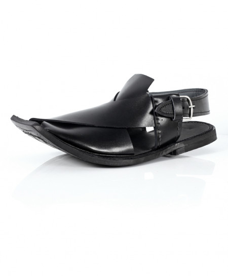 Black Plain Design Peshawari Sandal AK-1069