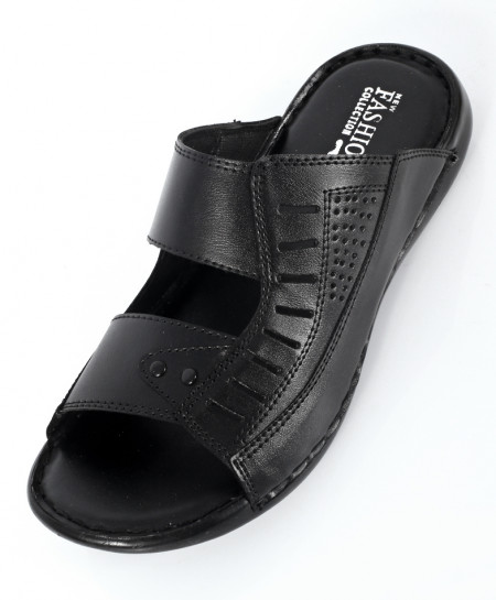 Black Stitched Design Casual Slipper NCP-545