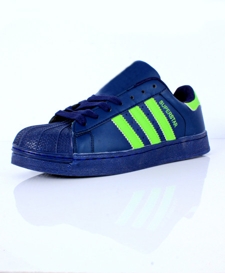 Navy Blue Stitched Strips Stylish Sports Shoes CB-2140