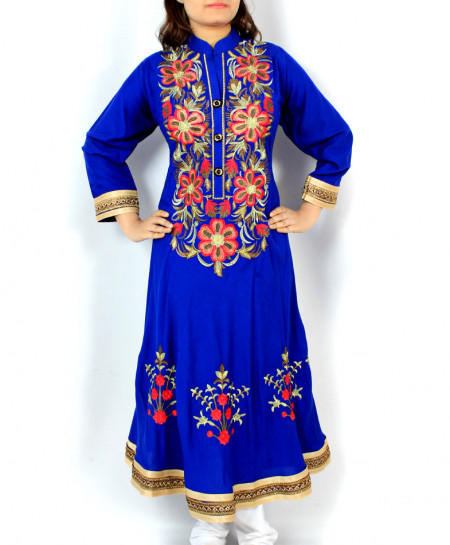 Blue Buttons Front Embroidered Stylish Kurti KC-3696