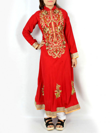 Red Front Button Embroidered Long Stylish Kurti KC-3713