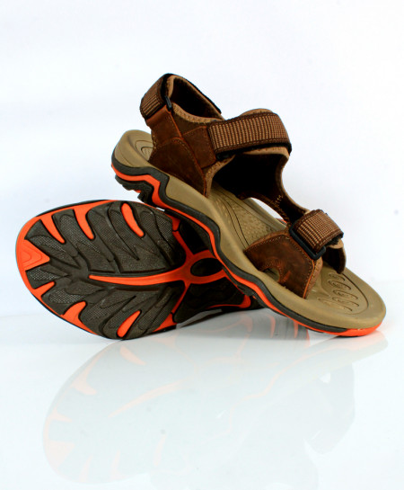 Brown Leather Tri Strap Casual Sandal SC-1617