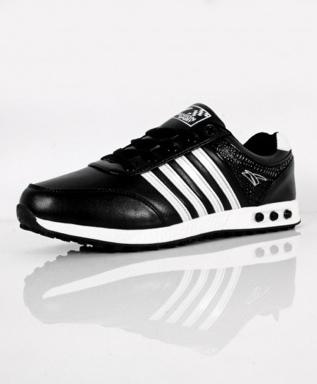 Black Tetra Stripes Design Sport Shoes SC-653