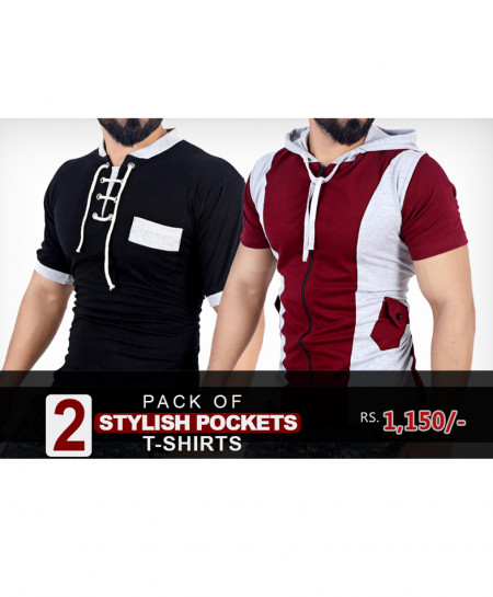 Pack Of 2 Stylish Pocket T-Shirts XB-842
