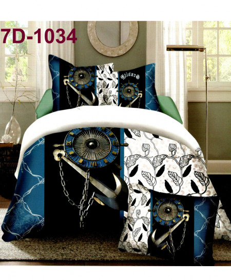 7D White Anchor Stylish Cotton Satin Bedsheet 7D-1034