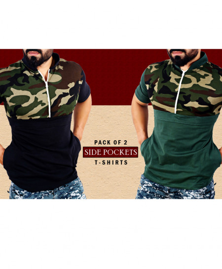 Pack Of 2 Side Pocket Stylish T-Shirts FSF-094