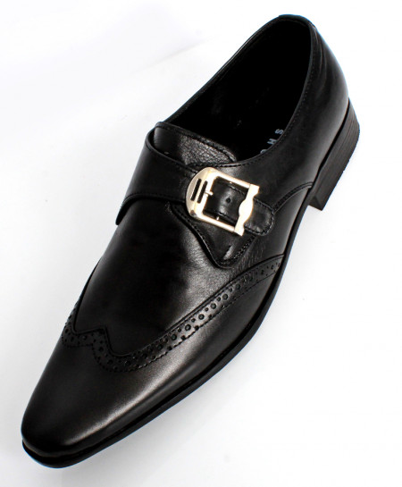 Black Leather Side Buckle Stylish Formal Shoes LC-665