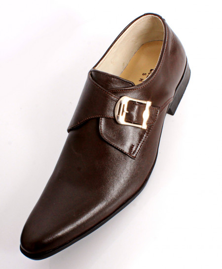 Choco Brown Leather Side Buckle Stylish Formal Shoes LC-565