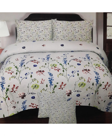 White Floral Style Cotton Bedsheet SY-451