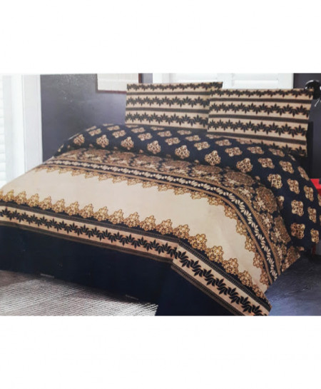 Navy Brown Floral Style Cotton Bedsheet SY-461