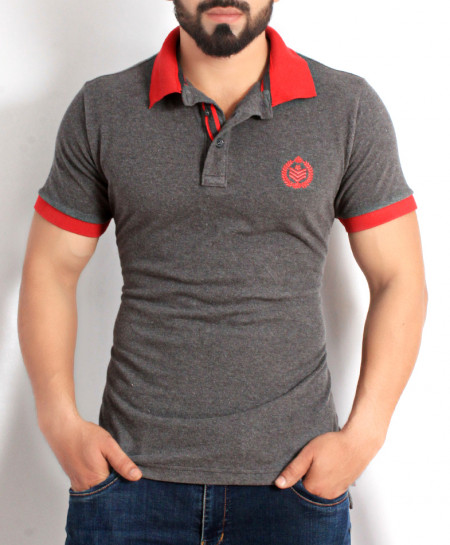 Charcoal Red Stylish Polo Shirt QZS-115