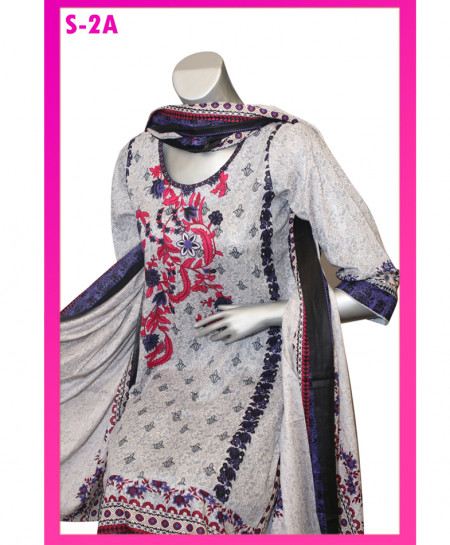 Multicolor Embroidered Lawn Unstitched Suit S-2A