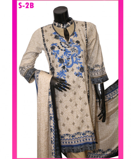 Multicolor Embroidered Lawn Unstitched Suit S-2B