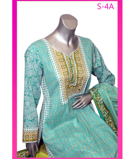 Turquoise Embroidered Lawn Unstitched Suit S-4A