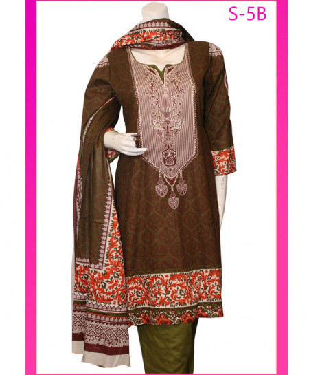 Olive Green Embroidered Lawn Unstitched Suit S-5B