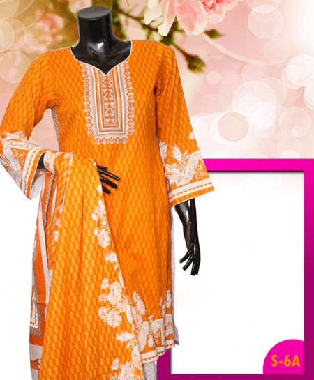 Orange Embroidered Lawn Unstitched Suit S-6A
