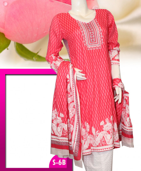 Pink Embroidered Lawn Unstitched Suit S-6B