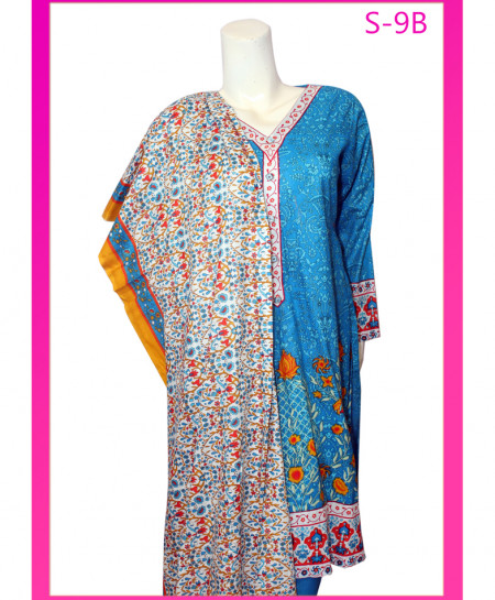 Sea Blue Embroidered Lawn Unstitched Suit S-9B