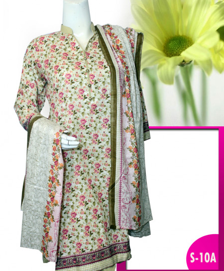 Fawn Embroidered Lawn Unstitched Suit S-10A