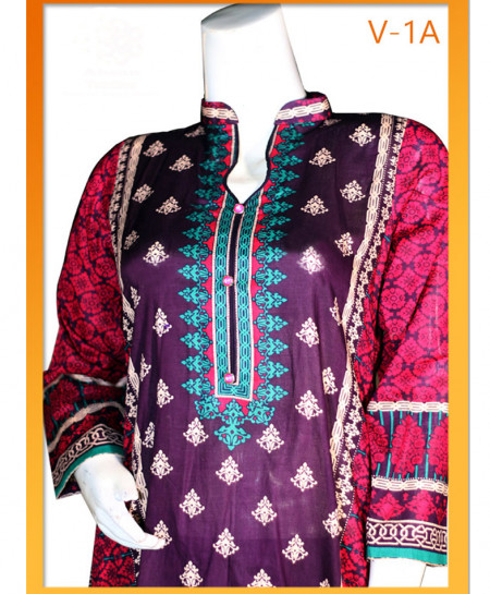 Purple Embroidered Lawn Unstitched Suit V-1A