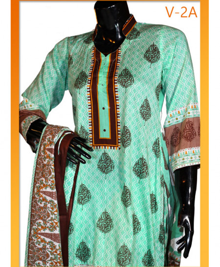 Turquoise Embroidered Lawn Unstitched Suit V-2A