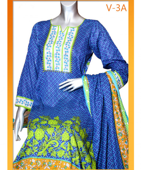 Blue Embroidered Lawn Unstitched Suit V-3A