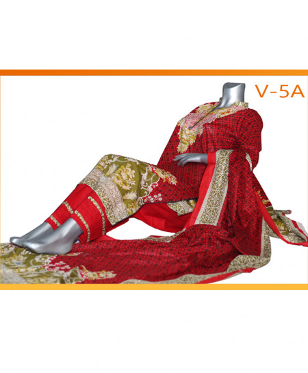 Red Embroidered Lawn Unstitched Suit V-5A