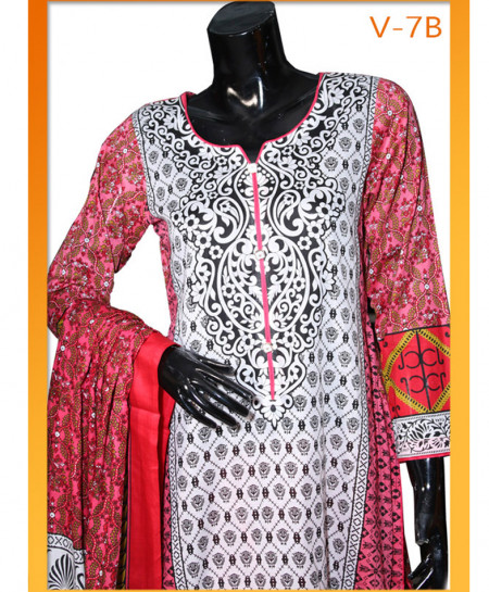 White Pink Embroidered Lawn Unstitched Suit V-7B