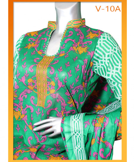 Sea Green Embroidered Lawn Unstitched Suit V-10A